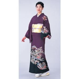 踊り訪問着の反物(古代紫/茶屋辻) 絵羽着物 踊り・舞台・パーティー用訪問着 洗える着物反物|kameya