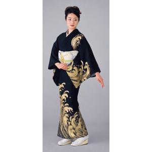 仕立上り舞踊衣裳(女単衣/黒地・荒波) 舞踊衣装 絵羽着物 踊り・舞台・パーティー用訪問着 洗える着物