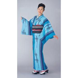 小紋の反物(キングサイズ/矢鱈縞・井桁/青) 踊り・舞台・パーティー用着物反物 洗える着物|kameya