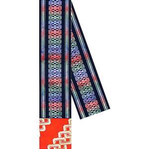 三寸帯(幅11.5cm×長さ350cm・角帯/黒地・献上柄) リバーシブル男物三寸帯 着物 浴衣 踊り帯 日本舞踊 歌舞伎 舞台 ステージ用帯 kameya