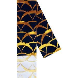 半幅帯 半巾帯 4寸帯 踊り 帯 半幅 浴衣 リバーシブル 黒 金襴 雪輪 雪輪|kameya