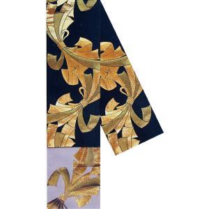 半幅帯 半巾帯 4寸帯 踊り 帯 半幅 浴衣 リバーシブル 黒 金襴 束ね熨斗|kameya