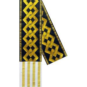 半幅帯 半巾帯 4寸帯 踊り 帯 半幅 浴衣 リバーシブル 黒 金襴 吉原繋ぎ 縞|kameya