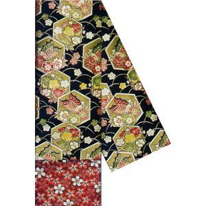 半幅帯 半巾帯 4寸帯 踊り 帯 半幅 浴衣 リバーシブル 幅17cm 長尺 黒 亀甲 桜|kameya