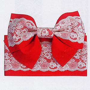 結び帯 むすび帯 作り帯 付け帯 付帯 リボン結び 帯 浴衣 ワンタッチ 赤 レース|kameya