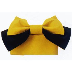 結び帯 むすび帯 作り帯 付け帯 付帯 リボン結び 帯 浴衣 ワンタッチ からし色 黒|kameya