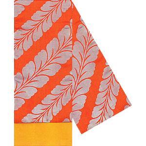 朱子織四寸帯(幅16cm×長さ360cm・オレンジ地藤/黄) しなやかな金箔四寸帯 踊り帯 日本舞踊 歌舞伎 舞台 ステージ用帯 着物 和装 浴衣帯