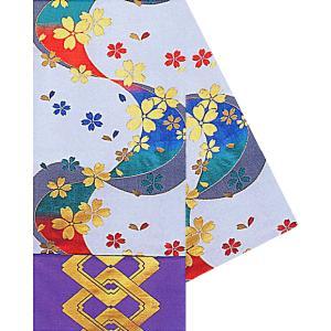 八寸踊り帯(幅30cm×長さ460cm・薄グレー/流水・桜吹雪) 金襴腹合せ帯(袋帯) 踊り帯 日本舞踊 歌舞伎 舞台 ステージ用帯 着物 和装 成人式 舞子帯 kameya