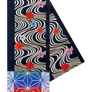 八寸踊り帯(幅30cm×長さ460cm・黒/流水・桜・梅・モミジ) 金襴腹合せ帯(袋帯) 踊り帯 日本舞踊 歌舞伎 舞台 ステージ用帯 着物 和装 成人式 舞子帯 kameya