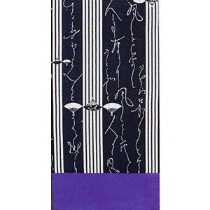 昼夜帯(幅30cm×長さ460cm・長尺/黒地/棒縞・詞章) 踊り帯 日本舞踊 歌舞伎 舞台 ステージ用帯 着物 和装 成人式帯 舞子 引きずり着物用帯 kameya