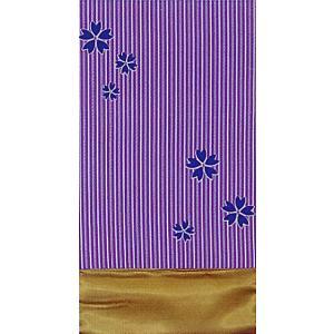 昼夜帯 くじら帯 踊り 帯 昼夜 日本舞踊 成人式 30×490cm 長尺 アヤメ 親子縞 桜|kameya