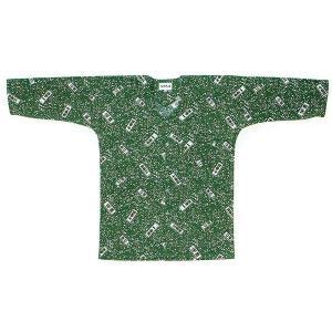 鯉口シャツ 祭り ダボシャツ メンズ レディース 緑 千社札 鯉口シャツ 祭り用品|kameya