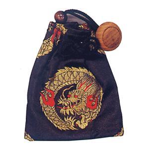 巾着 袋 バッグ ポーチ きんちゃく 祭り 巾着袋 金襴 ファスナー 黒 昇り竜|kameya