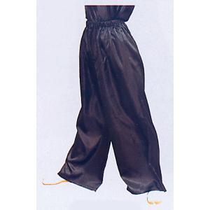 サテンワイドパンツ(ブラック) まつり用ズボン よさこい衣裳 舞台 ステージ 踊り用ゆったりパンツ 祭りボトムス 祭り用品 祭り衣装|kameya