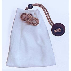 刺子きんちゃく袋ファスナー付(白)−浴衣・和服・お祭り用巾着袋|kameya