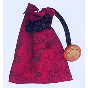 きんちゃく袋ファスナー付(エンジ/風神雷神)−浴衣・和服・お祭り用巾着袋|kameya