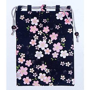 信玄袋 巾着 袋 手提げ袋 小物入れ 祭り 巾着袋 黒地 桜 kz|kameya