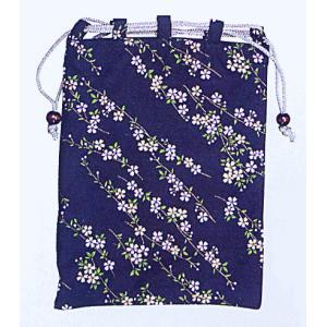 信玄袋 巾着 袋 手提げ袋 小物入れ 祭り 巾着袋 紺地 枝垂れ桜|kameya