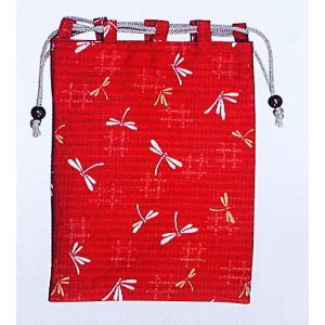 信玄袋 巾着 袋 手提げ袋 小物入れ 祭り 巾着袋 赤地 トンボ kameya
