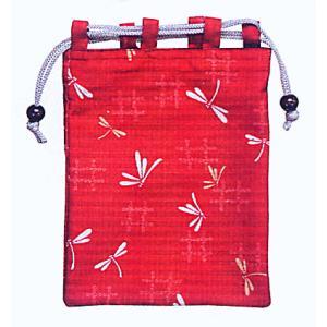 巾着 袋 バッグ ポーチ きんちゃく 祭り 巾着袋 赤地 トンボ kameya