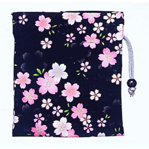 巾着 袋 バッグ ポーチ きんちゃく 祭り 巾着袋 黒地 桜|kameya