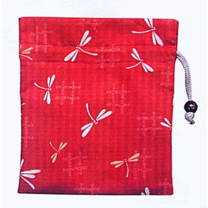 巾着 袋 バッグ ポーチ きんちゃく 祭り 巾着袋 赤地 トンボ|kameya
