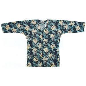鯉口シャツ 祭り ダボシャツ メンズ レディース 紺地 風神 鯉口シャツ 祭り用品|kameya