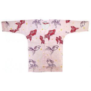 鯉口シャツ 祭り ダボシャツ メンズ レディース ピンク地 金魚 鯉口シャツ 祭り用品|kameya