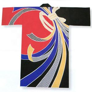 踊り 半纏 長 法被 はっぴ メンズ レディース 袢天 よさこい 祭り 半纏 半天 赤 黒 束ね熨斗|kameya
