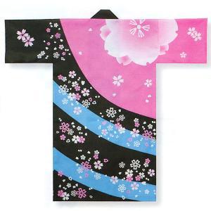 踊り 半纏 長 法被 はっぴ メンズ レディース 袢天 よさこい 祭り 半纏 半天 ピンク 黒 桜吹雪|kameya