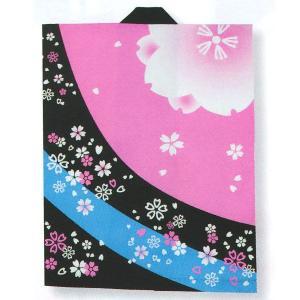 プリント袖無し半纏(身丈85cm・ピンク・黒・ブルー/桜吹雪) イベント法被/はっぴ 太鼓演奏半天 祭り半纏 メンズ/レディース兼用袢天 フリーサイズ袢纏|kameya