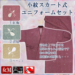 二部式着物 レディース 鮫小紋 セパレート 2部式 着物 スカート式ユニフォーム 洗える着物 全3色|kameya