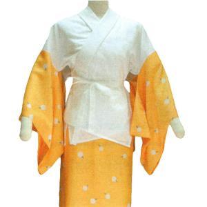 半襦袢と東スカートのセット(女物・M/L・くちなし色慈姑柄・半衿付) 和装下着 和装 着物インナー レディース和装用品|kameya