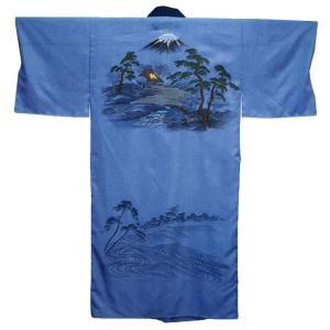 長襦袢 男性 メンズ 和装下着 ポリエステル 洗える長襦袢 富士山 古民家 M L|kameya