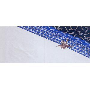 プリント手拭い(長さ81cm・鶴・松葉) 汎用プリント手拭い 挨拶 お年賀 プレゼント用手ぬぐい お年賀 ノベルティー インテリア用布巾|kameya