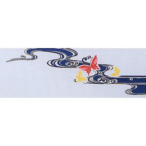 東京本染手拭い(長さ約100cm・蝶・流水) 表裏とも柄が鮮明 高級本染め手ぬぐい 祭り 踊り手拭い お年賀 ノベルティー インテリア用布巾|kameya