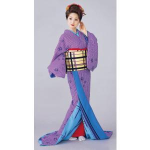 お 引きずり 着物 アヤメ色 親子縞 桜 裾引き 引き摺り おひきずり 洗える着物 納期45日 kameya