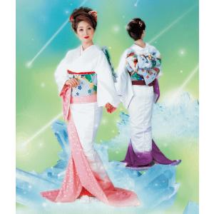 お 引きずり 着物 白 ピンク 紫ぼかし 裾引き 引き摺り おひきずり 洗える着物 納期45日 kameya