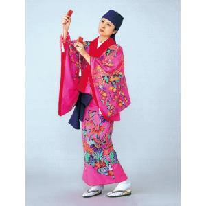 琉球 舞踊 衣装 ピンク 蝶 沖縄 民謡 紅型 打掛 洗える着物 踊り衣裳 舞台衣装 kameya