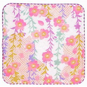 ガーゼタオルハンカチ(白・しだれ桜) お手拭き 汗ふき プチギフト お年賀 粗品 ノベルティー用ハンカチ 和風はんかち|kameya