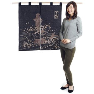 縁起のれん(幅83cm×丈90cm・夫婦鯉) おめでたい絵柄の福暖簾 インテリア暖簾|kameya