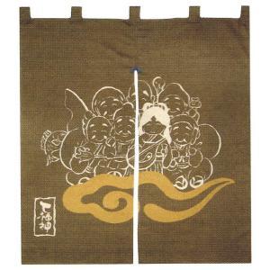 縁起のれん(幅83cm×丈90cm・七福神) おめでたい絵柄の福暖簾 インテリア暖簾|kameya