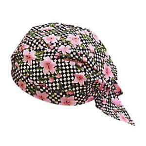 バンダナキャップ(市松/桜) おしゃれな祭用布帽子 ヘアーキャップ 祭小物 まつり頭巾 祭り用品|kameya