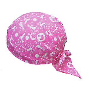バンダナキャップ(ピンク/うさぎ) おしゃれな祭用布帽子 ヘアーキャップ 祭小物 まつり頭巾 祭り用品|kameya