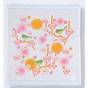 スパードライハンカチ(梅と鶯) お手拭き 汗ふき プチギフト お年賀 粗品 ノベルティー用ハンカチ 和風はんかち|kameya