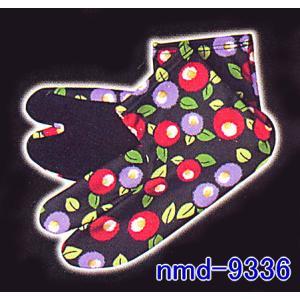 和風足袋ソックス(黒地・ツバキ) 和柄健康たび 柄入り足袋 足袋風靴下 色足袋 着物 和装足袋 舞台 ステージ足袋|kameya