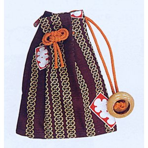 大入り巾着袋ファスナー付(茶・吉原つなぎ)−浴衣・和服・お祭り用巾着袋|kameya