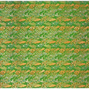 カット生地(グリーン・桜花) 幅70cm×1m単位でカット販売 踊り衣裳 祭り小物用カットクロス お人形 お飾り 巾着 ポーチなどの手芸材料|kameya