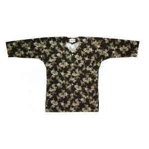鯉口シャツ(黒地/唐獅子牡丹) 在庫限定お祭りシャツ まつり用インナーウエア 神社 神輿 山車 市民祭り用パターンシャツ 柄入り祭り衣装 祭り用品|kameya