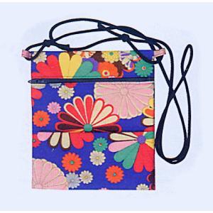 ポシェット 和風 まつり ミニ バッグ 祭りポシェット 青地 菊柄|kameya